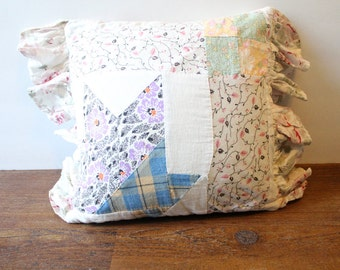 Vintage Down Quilt Pillow Shabby Chic