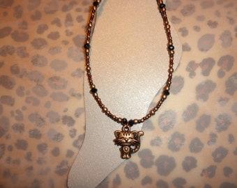Antique Copper Kitty Cat Ankle Bracelet