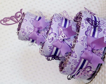 Baby Diaper Cake Purple or Purple and Pink Butterflies - You choose - Shower Gift or Centerpiece