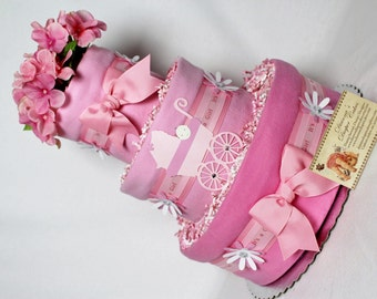 Pram Baby Diaper Cake SELECT YOUR COLOR Baby Carriage Stroller Shower Gift or Centerpiece