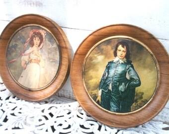 Vintage art tin. Pinkie. Blueboy. Woodgrain Round tin. 2 Lids. Retro chic Art Display Storage containter