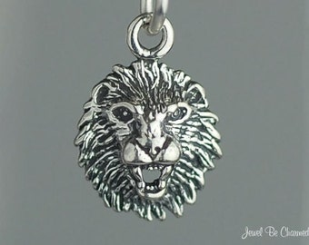 Sterling Silver Miniature Lion Charm Leo Mascot Roaring Small Tiny 925