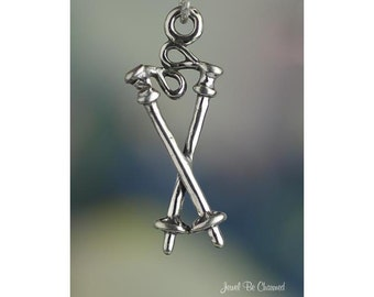 Ski Poles Charm Sterling Silver Downhill or Cross Country Skiing .925