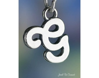 Sterling Silver Script Letter G Charm Initial Cursive Shiny Solid .925
