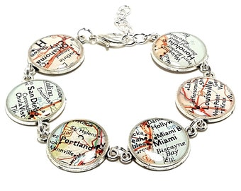 Custom Vintage Map Bracelet. You Select Six Locations. Anywhere In The World. Travel. Map Jewelry. Charm Bracelet. Bucket List. Traveller.
