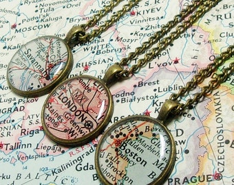 CUSTOM Map Necklace. You Select Location. Anywhere In The World. One Necklace. Map Pendant. Map Jewelry. Personalized. Gifts. Mom. Friend.