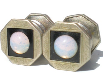Art Deco Baer & Wilde Snap Cufflinks Opalescent Purple Glass Black Enamel Silver Tone - Vintage Mens Gift Cuff links Kum-A-Part
