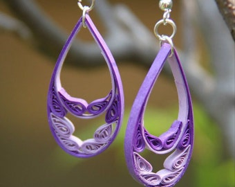 Purple Feather Large Teardrop Paper Quilled Earrings - Violet and Lavender Statement Earrings