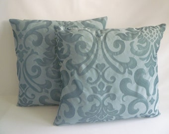 PAIR Blue Decorative Pillow Covers Faux Silk ZIP pattern both sides Designer Cushion Cover Throw Scatter(40cm)