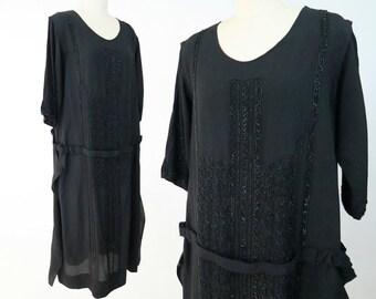 1920s Authentic Black Silk Beaded Gatsby Dress / Vintage Flapper Dress