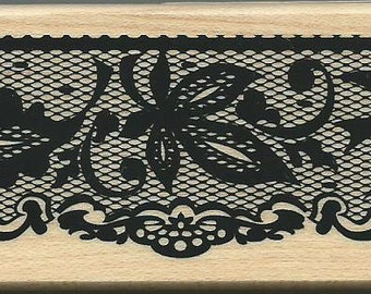 Lace Edge Stamp -- NEW -- Wood Mounted Rubber Stamp -- Inkadinkado Brand -- (#1668)