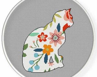 Instant Download, Cross stitch pattern, PDF,flower cat,valentine's day, wedding,pillow pattern,zxxc0950
