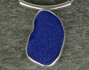 Cobalt Sea Glass Bezel Pendant Necklace