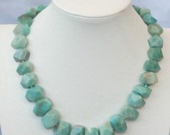 Green amazonite statement necklace