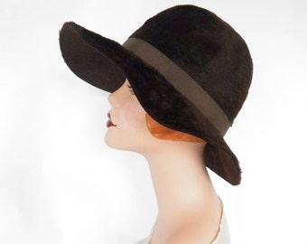 Vintage 1960s hat, brown faux fur, Nanette Italy
