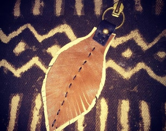 2 toned handstitched Leather Feather Key Chain