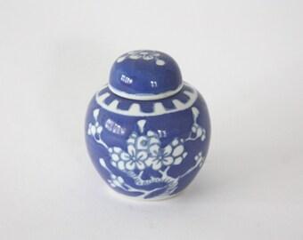 Vintage Petite Blue and White Ceramic Ginger Jar