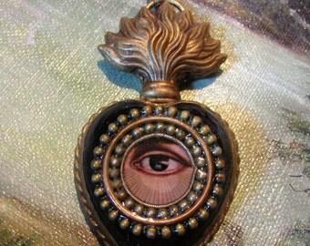 Mini sacred heart ex voto reliquary necklace lovers eye heart pendant rhinestone flaming Catholic religious by Madonna Enchanted