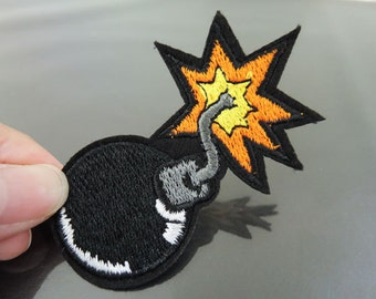 Black Bomb Patches - Iron on Patches or Sewing on Patch Black Patches Embroidered Patch Bombs Embellishment