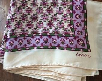 Vintage 80s Echo Scarf // Cream and Purple Floral Design