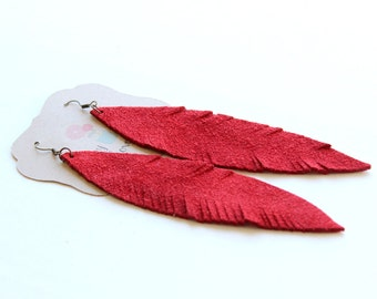 Large Red feather earrings, red suede earrings, Feather earrings, red earrings