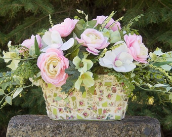 Silk Floral Arrangement in Vintage Pink and Green Rose China Mosaic Flower Planter, Mothers Day Centerpiece READY TO SHIP