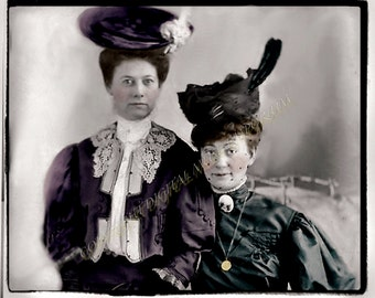 Instant Download Vintage Photograph -Blanche and Maud