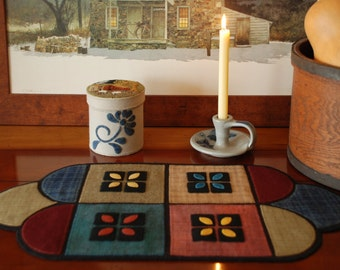 """Wool applique PATTERN """"New England Farm House"""" table runner primitive penny rug folk art stencil Amish quilt block felted wool felt quilted"""
