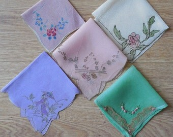 11 Silk Crepe Hand Painted or Lace Edged Handkerchief Lot