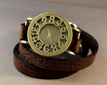Birthday Gift For Her-Birthday Gift For Friend-Anniversary Gift-Girlfriend Gift-Cuff Watch-Gift Women-Brown Leather Watch