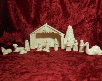 13 Piece Handmade Glazed Ceramic Nativity with Stable, Ceramic Nativity, Glazed Ceramic Nativity, Nativity Set