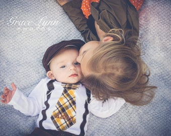 Thanksgiving Baby Boy Tie and Suspenders Bodysuit w Personalization & Chocolate Brown Pants w Buttons. Birthday Outfit. Fall Plaid, Holiday
