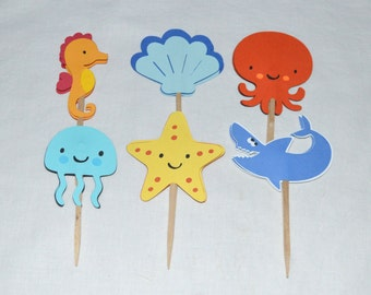 12 READY TO SHiP Under the Sea Cupcake Toppers Octopus Shark Seahorse Up to 2 Sets with SAME SHiPPING Sea Creature Birthday Cake Decoration