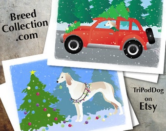 Saluki Dog Christmas Cards from the Breed Collection - Digital Download  Printable