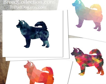 Alaskan Malamute Dog Silhouette Note Card Collection -  Digital Download Printable