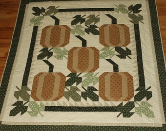 """Thanksgiving quilt or tablecloth pumpkin patch in fall colors reversible 65 x 59"""""""