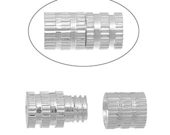 10pcs. Silver Plated Screw Cylinder Barrel Clasps - 8mm X 4mm - Made of Copper!