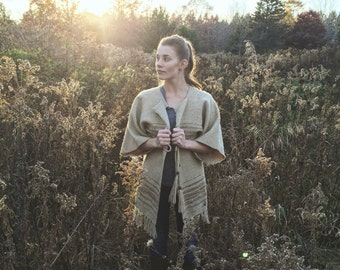 Vintage, 1970,  Burlap, Poncho, Lightweight, Fall, Jacket, Women's, Open Size, Boho Chic