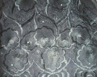 Black Luxury Swiss Voile African Lace Fabric 5 yards, Wholesale African lace for weddings/Nigerian Lace fabric/ Iro Buba Lace