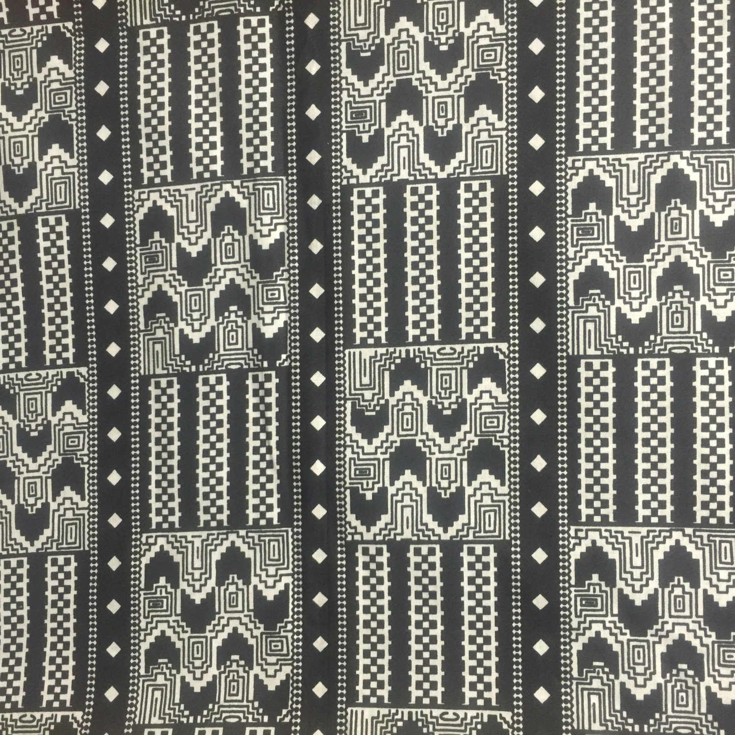 Black And White Tribal Kente Fabric Fabric By The Yard