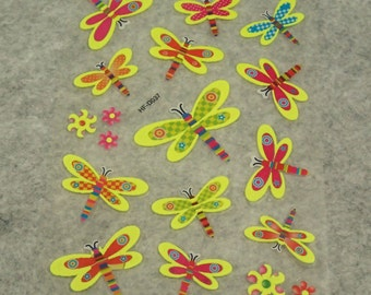 Assorted Mixed Cute Glitter Glow In The Dark Candy/Dragonfly Stickers