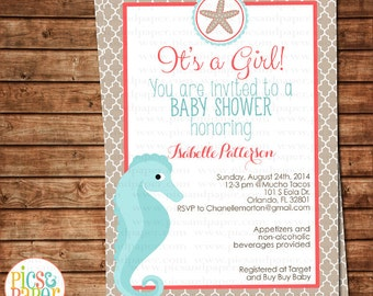 Coral and Aqua Beach, Ocean Baby Shower Party Invitation-Seahorse, Starfish, for baby girl- Digital or Printed