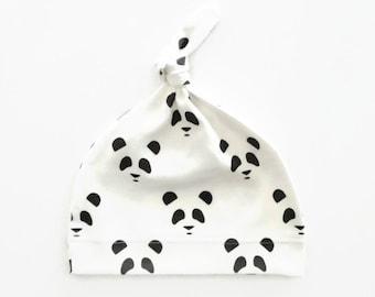Black Panda Knotted Baby Hat Organic Cotton Unisex Monochrome