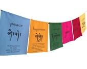 Hands Of Tibet Handmade Tibetan Affirmation prayer flags happiness courage love tranquility wisdom