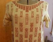 Art Nouveau Tan SILK SHIFT DRESS Burgundy Fan Scroll Flower Print, Simple Slip Over Loose Fit Short Sleeves, Antique 1920's Handmade Sz 12