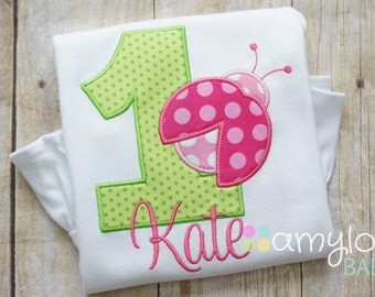 Ladybug Pink and Green Birthday Toddler Tee Shirt - ANY AGE - First, Second, Third, Fourth Birthday - Party - Lady Bug