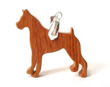 Boxer Dog Necklace Wood Boxer Jewelry Scroll Saw Dog Breed Jewelry Pet Necklace Cherry