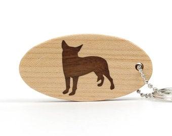 Australian Cattle Dog Key Chain Wood Dog Breed Key Ring Pet Key Fob Wooden Dog Key Fob Pet Accessories Walnut