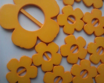 Yellow Retro  Flower Shaped Plastic Buckles. 12 Pieces Set, New Old Stock.