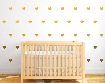 Gold Hearts Girl Wall Decals, Patterned Little Gold Hearts Wall Stickers,  Gold Vinyl Girl Part 40